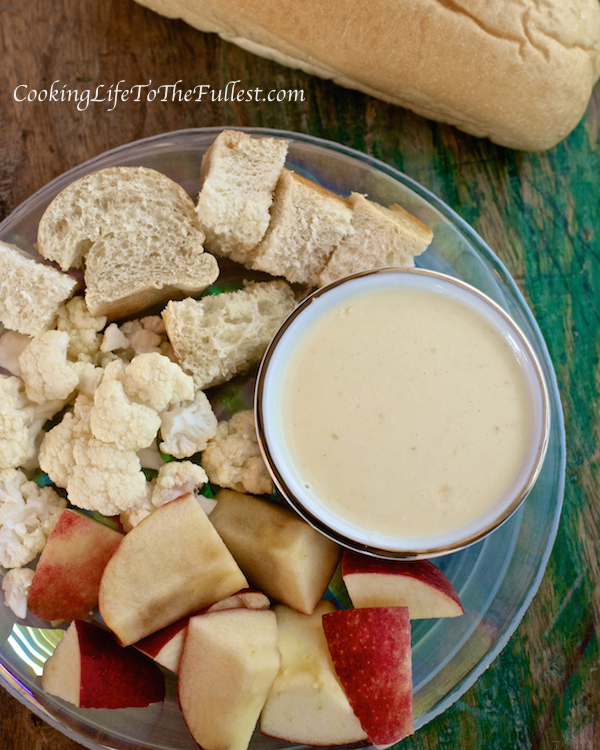 Alfredo Fondue Dip (served with bread, sliced apples and cauliflower)