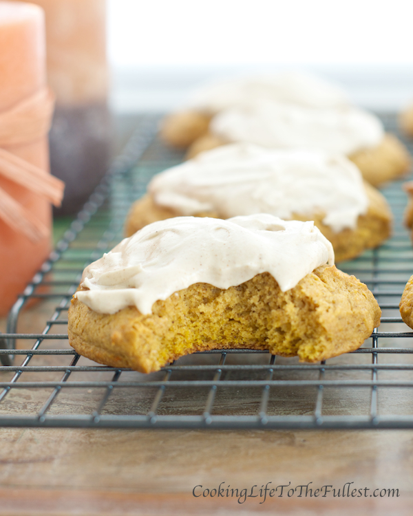 Pumpkin Cookies with Cinnamon Cream Cheese Frosting