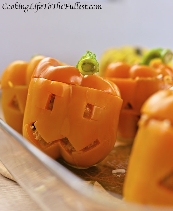 Chicken Stuffed Peppers - Halloween Style