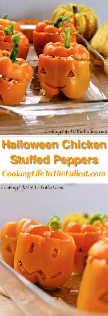 Halloween Chicken Stuffed Peppers