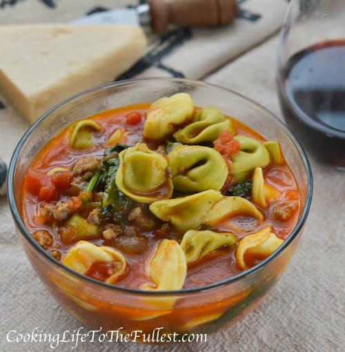 Garlicky Tortellini, Spinach & Tomato Soup Recipe — Dishmaps